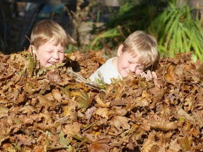 Zion and Lijah playing in a leaf pile