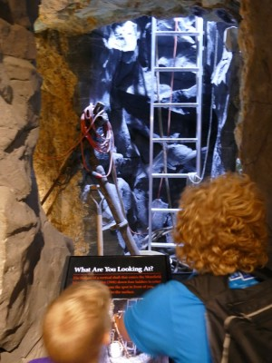 Harvey and Zion enjoying the mine exhibit