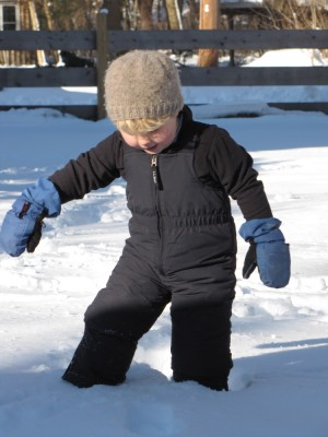 Harvey venturing into the snow in snowpants and mittens