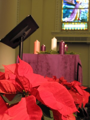 poinsettias in front of the Advent wreath