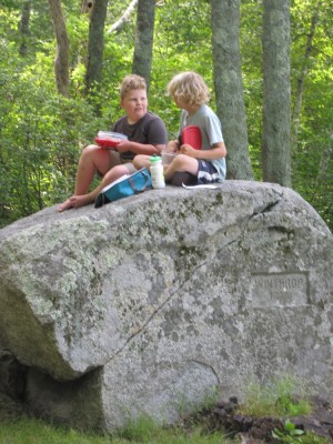 Harvey and Ollie sitting on one of the Two Brothers Rocks