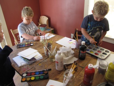 the boys doing art