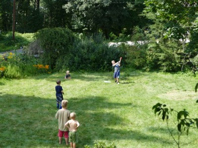 the boys playing baseball in the yard with the neighbor kids