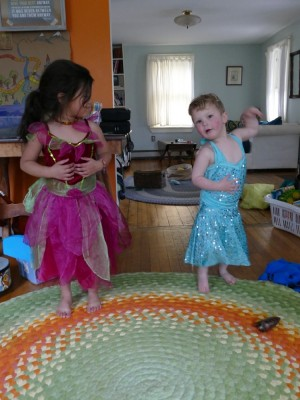 Lijah and Kamilah dancing in pretty dresses