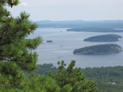 a view of the islands around Bar Harbor from halfway up Dorr Mtn