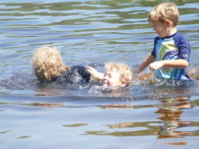 the boys splashing in Berry Pond