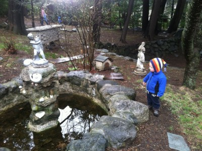 Lijah looking at a fountain in the scraggely monastary garden