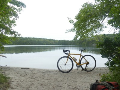my road bike by the shore of a little pond