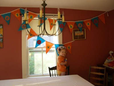 harvey next to his birthday bunting