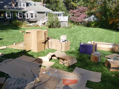 carboard boxes on a lawn