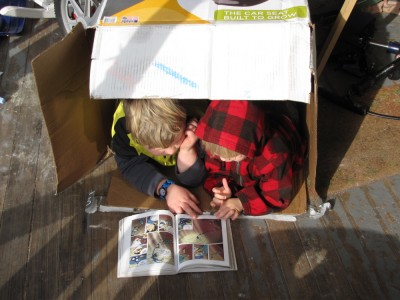 Harvey and Zion on the front porch, lying in a box sharing a comic book