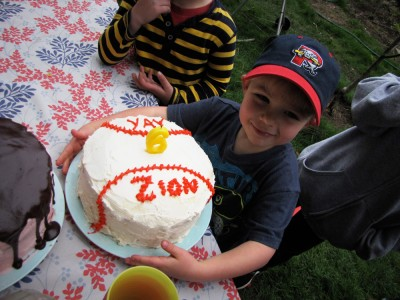 Zion and his baseball cake