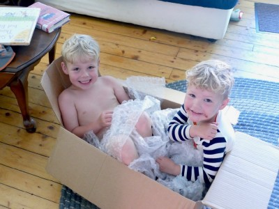 Zion and Lijah sitting in a box with bubblewrap around them