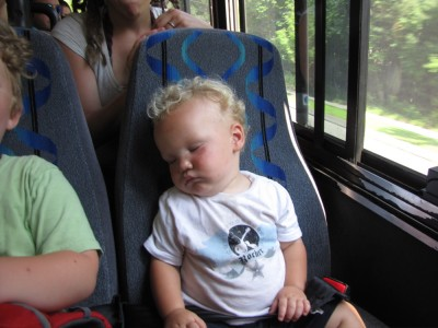Lijah sleeping on the bus