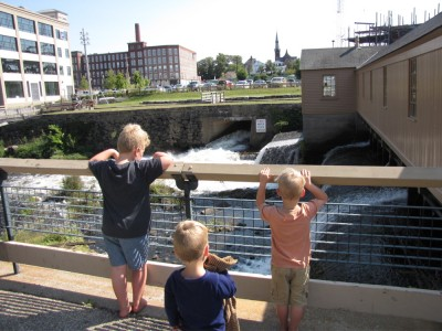 the boys looking down at the Swamp Locks, part of the Lowell canal complex