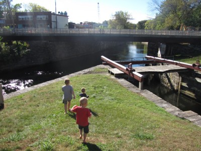 the boys at the Gaurd Lock on the Pawtucket Canal