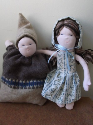 Waldorf pillow doll and grown-up doll in pioneer clothes