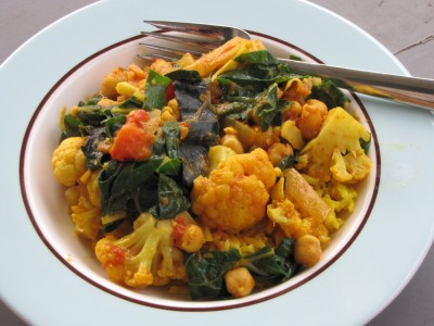 a bowl of cauliflower curry