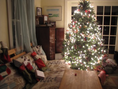 stockings and tree at midnight Christmas Eve