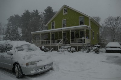 the front of our house in the snow