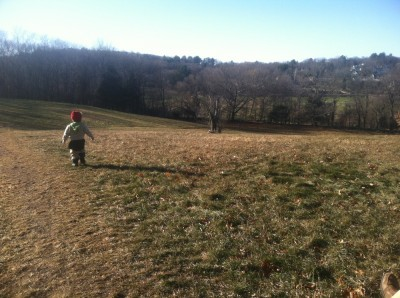 Lijah walking in a field