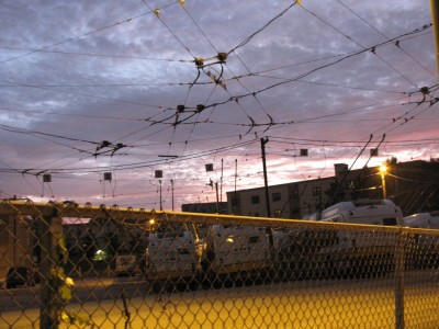 sunset over the trolley wires