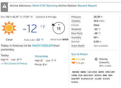 a screenshot of the weather report, showing -33 wind chill