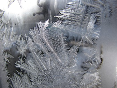 frost crystals on a window at grandparents