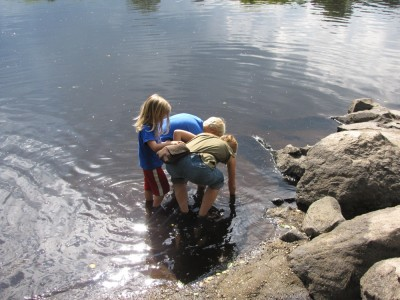 our visitors looking for shiny rocks in the Concord River