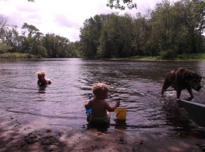 the boys swimming in the concord river