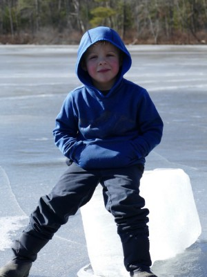 Zion sitting on an ice block