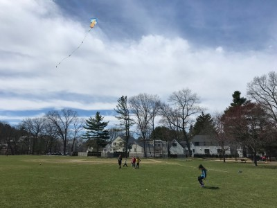 kids flying kites on a playing field