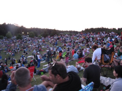 lots of people sitting on a hill watching a concert