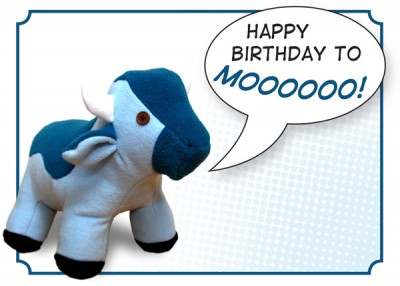 a birthday card featuring the blue cow