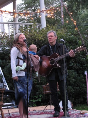 Leah and her dad performing their song