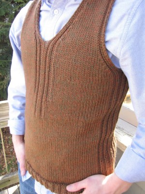 close-up of the sweater vest leah knit for dan
