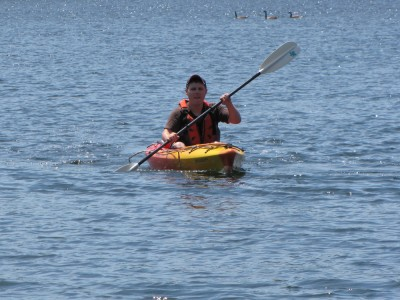Danny in a kayak on Spy Pond