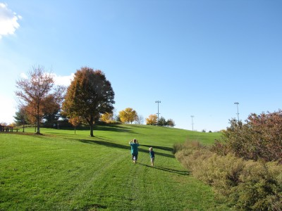 the boys running on a big sloping lawn