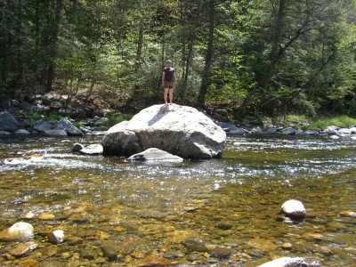 danny standing on a rock in cummington ma
