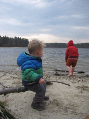 Lijah sitting on a tree branch, watching Harvey wade in the water