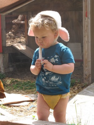 Lijah standing by the chicken coop in shirt, diaper, and sheep hat