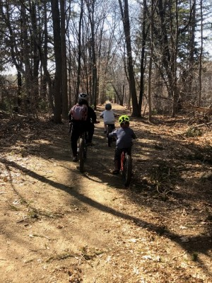 the boys riding along the Reformatory Branch Trail