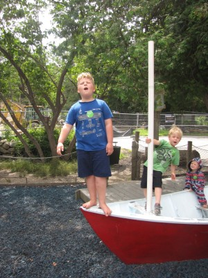 the boys on the Discovery Museum playground boat