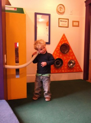 harvey playing in the baby room at discovery museum