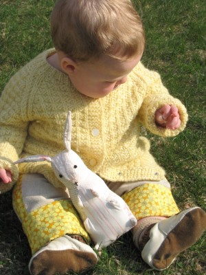 Harvey with his Easter outfit and bunny