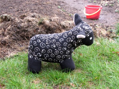 a black sheep in fleece