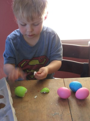 Zion opening dyed hard-boiled eggs