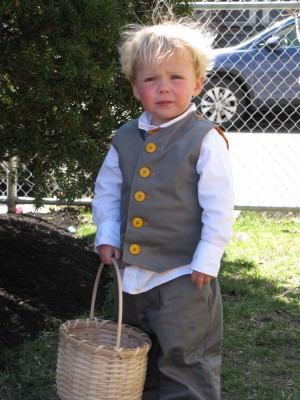 Zion in his Easter suit holding his basket