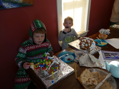 the boys starting to eat their gingerbread houses