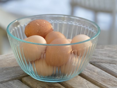 eggs in a bowl on the back porch